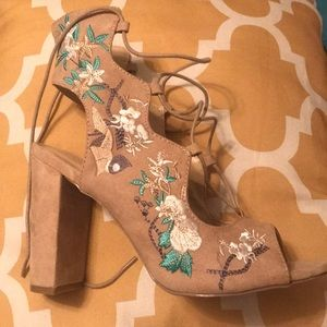 Floral lace up heels